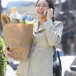 Woman in suit holding groceries while talking on cell phone - Stock Photo