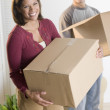 Portrait of couple carrying boxes -  