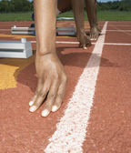 Two athletes at the starting line — Stock Photo