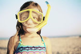 Portrait of girl wearing snorkeling gear — Stock Photo