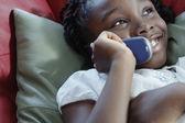 Girl on mobile phone — Stock Photo
