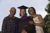 Female graduate with parents — 图库照片