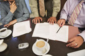 Business professionals reviewing paperwork — Stock Photo