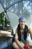 Woman in tent — Stock Photo