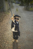 Young boy wearing a Zorro costume — Foto de Stock