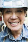 Portrait of female welder — Stock Photo