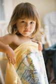 Portrait of girl with blanket — Stock Photo