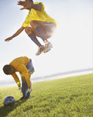 Two soccer players warming up — Stock Photo