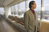 Side view portrait of businessman at airport — Stock Photo