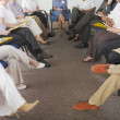 Detail view of business 's legs in conference — 图库照片