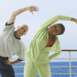 Couple exercising on cruise ship — Foto de Stock