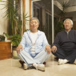 Senior Asian couple meditating indoors - Stock Photo