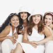 Young women smiling for the camera - Stockfoto