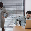 Frustrated businesspeople in office space — Stock Photo #23243834