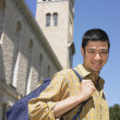 Stock Photo: Male Asian university student on campus
