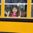 Young Asian girl on school bus — Stock Photo #23244054