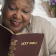 Senior woman reading the Bible — Stock Photo #23245742