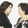 Studio shot of Asian mother and adult daughter face to face smiling - Stock Photo