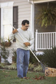 Man raking leaves in front yard — Stock Photo