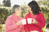 Senior Asian mother and grown daughter laughing and drinking tea — Stock Photo