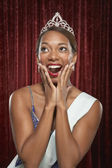 Beauty queen gasping — Stock Photo