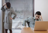 Frustrated businesspeople in office space — Stock Photo