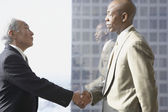 Two businessmen shaking hands in front of window — Stock Photo