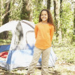 Stock Photo: African American girl camping