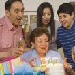 Multi-generational Hispanic family with birthday cake — Stock Photo