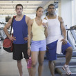 Three at gym — Stock Photo