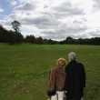Rear view of senior couple looking out over open meadow — Stock Photo