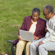 Senior African couple using laptop on bench outdoors — Stock Photo