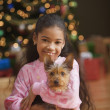 Girl holding Yorkshire Terrier puppy on Christmas — Stock Photo