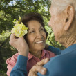 Senior man putting flower in senior woman's hair — Stock Photo