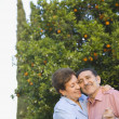 Senior Hispanic couple dancing outdoors — Stock Photo