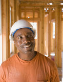 African male construction worker inside construction site — Stock Photo