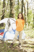 African American girl camping — Stock Photo