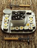 寿司のプレートのクローズ アップ — ストック写真