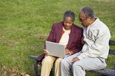 Senior coppia africana utilizzando il computer portatile sul banco all'aperto — Foto Stock