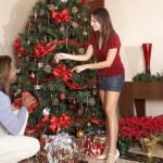 Couple decorating Christmas tree — Stock Photo #23278918