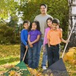 Portrait of Hispanic family raking leaves — Foto Stock