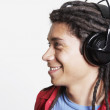 Hispanic man wearing headphones — Stock Photo