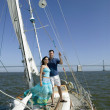 Portrait of couple on sailboat — Stok fotoğraf