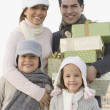 Portrait of Hispanic family on Christmas — Stock Photo