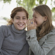 Two teenage girls telling secrets outdoors — Stock Photo