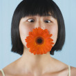Asian woman with flower in mouth — Stock Photo #23272350