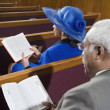 African American seniors in church — Stock Photo