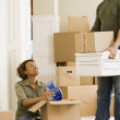 Stock Photo: Africcouple unpacking in new house