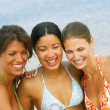 Women video recording themselves at beach — Stock Photo