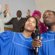 African American singing in church — Stock Photo